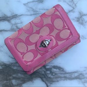 Coach Pink signature canvas logo bifold wallet